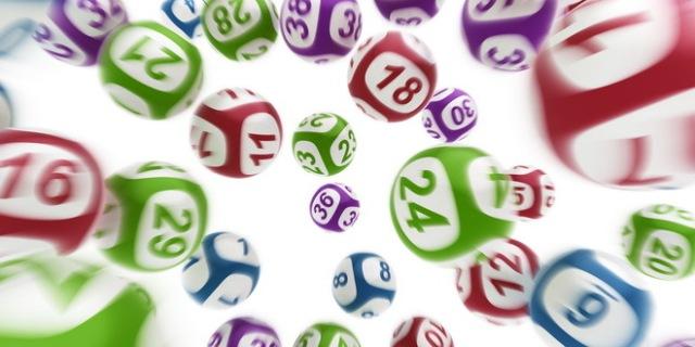 3d rendering of flying lottery balls